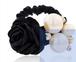 黒色 ヘアゴム パールとバラ