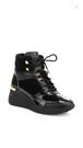 MICHAEL KORS Living Shearling-Trim Leather Platform Wedge Ankle Boots