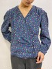 (TOYO) flower pattern no collar blouse