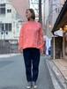 WOMENS:LILOU+LILY【リルアンドリリー】MIGRATORY BIRD PULLOVER SHIRTS(ピンク/ワンサイズ38のみ)渡り鳥刺繍プルオーバーシャツ