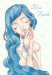 青い手女の子のハガキ