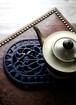 フランス アイアン 鍋敷き トリベット オーバル ブルー