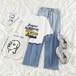 オシャレ カレッジ風 カジュアル ラウンドネック 半袖 プリント柄 Tシャツ デニムパンツ ゆったり 2点セット セットアップ