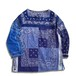 Remake Bandana Key Neck Shirts -Blue Mix01