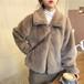 【送料無料】アウター ファー ジャケット 襟付き ラテカラー ファスナー 大人可愛い フェミニン 暖かみ 秋冬