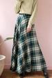 green×navy check long skirt
