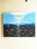 都会の夜景と人 インテリア アート 絵画 Interior painting