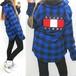 サガラ刺繍カリフォルニア/チェック柄Bシャツ/青
