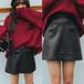 【送料無料】レザー調 フェイクレザー ショート タイト 大人女子 ミニスカート