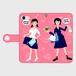 親和ガール制服(ピンク)手帳型(大) スマホケース・受注生産