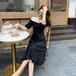 【dress】レディースファッション切り替えフェミニンデートワンピース着痩せ