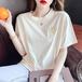 【tops】元気いっぱい大人可愛いカジュアルスマイリーTシャツ4色着心地良い