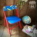 アメリカUSED★クレヨン柄 アメリカンヴィンテージ キッズチェア 折りたたみ椅子 赤×青【F-039-003】