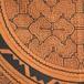 大判150cmx150  円ピラニア アマゾンシピボ族の泥染め 天然染め 茶-01