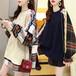 ドッキングトップス フェイクレイヤード ケーブル編み ニット + チェック ネルシャツ 韓国ファッション レディース ラウンドネック 保温 ゆったり 大人カジュアル ガーリー DTC-628217939644