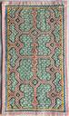 刺繍 プレイスマット シピボ族の手刺繍 カフェマット 19x30 極繊細シリーズ 緑と茶