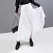 アシンメトリー プリーツスカート 韓国ファッション レディース 不規則デザイン スカート Aライン ロング ハイウエスト 大人可愛い ガーリー フェミニン / High waist thin chiffon pleated skirt
