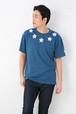 インディゴ Tシャツ メンズ レディース お揃い ペアルック 半袖 星柄 プリント 父の日 ギフト Tシャツ アメカジ 5.3オンス | 球心柄 ファイブスター ライトインディゴ