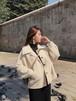 ルーズフィット ドルマンスリーブ ステンカラーコート ショート丈 厚手 オーバーサイズ ホワイト 2018秋冬 0730