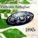 英国 ヴィクトリアンアンティーク★ニエロ彫金 フラワーインレイ オーバル ブローチ 1890s モーニングジュエリー