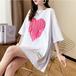 【tops】カジュアルハート柄ゆったり合わせやすいTシャツ2色
