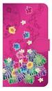【鏡付き Mサイズ】Tropical Pink トロピカル・ピンク 手帳型スマホケース