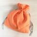 コットンリネン リボン巾着 オレンジ