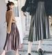 【送料無料】簡単コーディネート プリーツベロアスカート ミモレ丈 きれいな5色