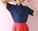 70's polka dot bow tie blouse