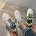 レディース スニーカー ローカット レースアップ シンプル 定番人気 フラット 厚底 歩きやすい 痛くない 合皮 革 白 ホワイト 緑 グリーン 銀 シルバー 通勤 通学 学生 韓国