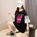 【tops】絶対流行カジュアルレース切り替え文字プリント大きいサイズTシャツ3色