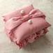 [送料無料]間にとも布のバラを飾ったピンクのリングピロー