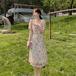 【dress】おしゃれ度高まる 高級感 プリントデートワンピース合わせやすい