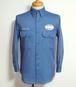 1970's Partridge チェーンステッチ&ワッペンワークシャツ ブルーグレー 実寸(S位)