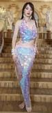 ベリーダンス衣装セットレディマーメイドスパンコールヒップタオルベリーダンストップ + ヒップスカーフラップベルトスパンコール魚鱗ダンスウェア