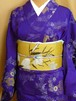 単の着物★アンティークの着物★紫にゴールドの菊