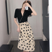 【set】絶対欲しいファッション2点セットVネックTシャツ+ドット柄スカート M-0308