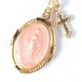 マリア様オーバルメダイとクロスのネックレス#ピンク