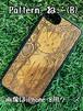 Type-A  スマホケース 木製 天然木 チーク材 おしゃれ iPhone android エスニック アジア タイ 一点物 個性 ウッド 男女兼用 ユニバーサルデザイン Pattern: ねこ(B)