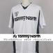 Tommy North ブランドロゴプリント Vネック バドミントンTシャツ BDM0001 ホワイト×グレー