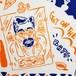 ゲットオンザバスてぬぐい 紺×オレンジ