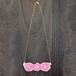 ピンクのお花刺繍ネックレス