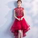 フィッシュテール チャイナ風 ドレス 刺繍 半袖 ロング丈 膝丈 パーティー お呼ばれ 二次会(F052)