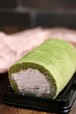 低糖質抹茶いちごロールケーキ Matcha Strawberry Cake Roll