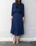 70's pleated navy dress
