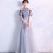 【送料無料】マキシ丈 ドレス フラワー モチーフ チャイナ風 チュール 刺繍 パーティードレス ドレスアップ(B295)