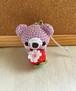 【受注生産】赤イチゴ・淡パープル色クマさん*鈴付きイヤホンジャックストラップ