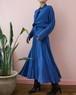 80s blue long flare dress