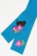 撫松庵半巾帯 猫と鉄線 ターコイズ