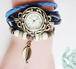 青ブルー レザーブレスレット 時計付き